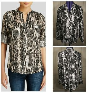 Calvin Klein linen snake print top shirt blouse